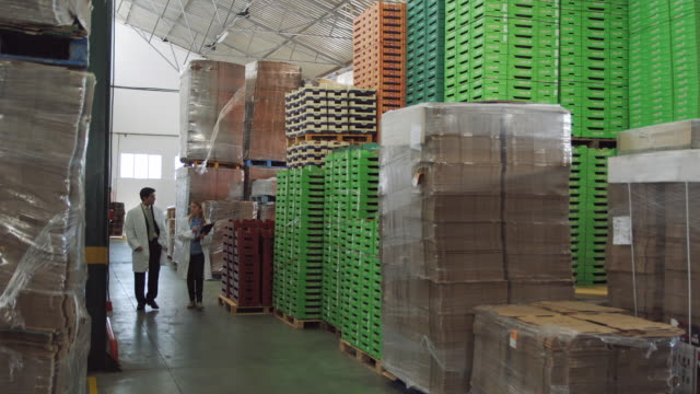 WS Man and woman in protective clothing walking through storage area in food processing plant / Algarrobo, Malaga, Spain