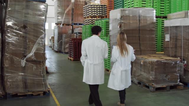 vídeos y material grabado en eventos de stock de ws man and woman in protective clothing walking through storage area in food processing plant / algarrobo, malaga, spain - paleta herramientas industriales