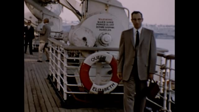 1957 Man and Woman on Queen Elizabeth Cruise Ship