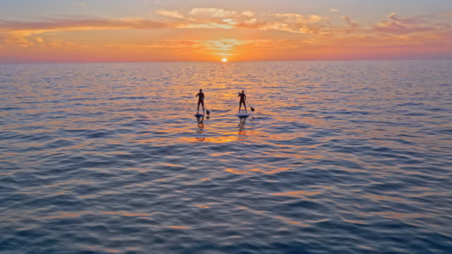 aerial man and woman paddling their sups at sunset - mediterranean sea stock videos & royalty-free footage