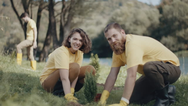 man and woman plantiing a tree - sustainable tourism stock videos & royalty-free footage