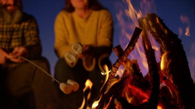 slo mo man and woman roasting marshmallows over the campfire at night - flammable stock videos & royalty-free footage