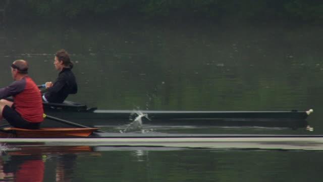 vídeos de stock e filmes b-roll de ws pan man and woman rowing in single sculls on the connecticut river at dawn/ hanover, new hampshire, usa - olhar de lado
