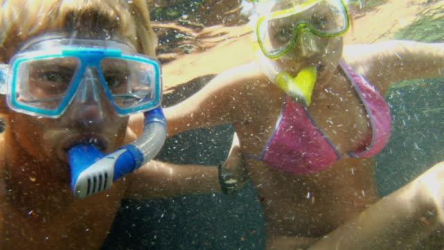 vídeos de stock, filmes e b-roll de cu man and woman scuba diving underwater in caribbean sea / tulum, mexico - tulum méxico
