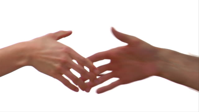 cu, man and woman shaking hands - handshake stock videos and b-roll footage