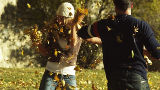 ms slo mo man and woman throwing leaves in park / provo, utah, usa - herbst stock-videos und b-roll-filmmaterial