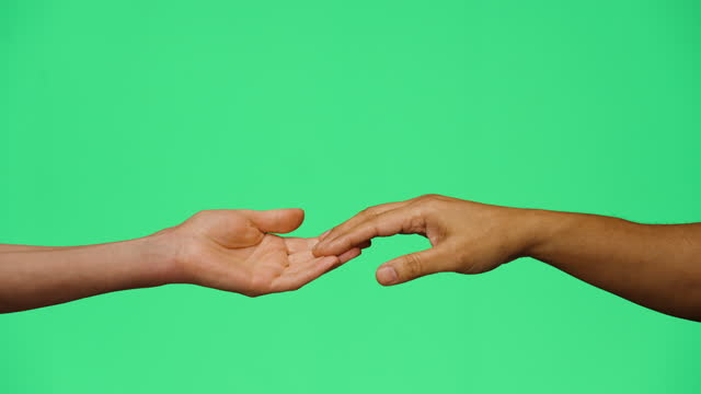 cu man and woman touching fingers on green screen - two people stock videos & royalty-free footage