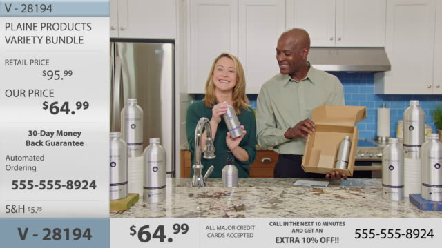 man and woman unbox plaine products eco-friendly body and hair care bottles and discuss the easy and sustainable return protocol in modern infomercial. - hair conditioner stock videos and b-roll footage