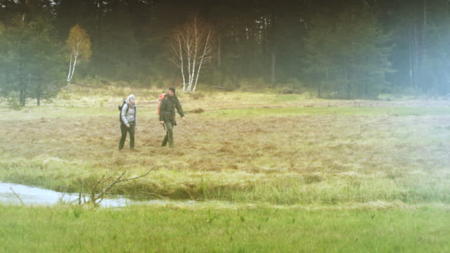 man and woman walking towards a river running across a foggy meadow in the forest - survival stock videos and b-roll footage