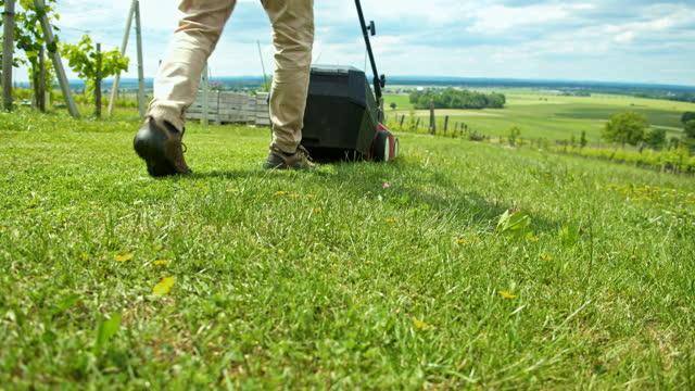 vidéos et rushes de homme de mo de slo arrangeant l'herbe avec la tondeuse à gazon - pelouse