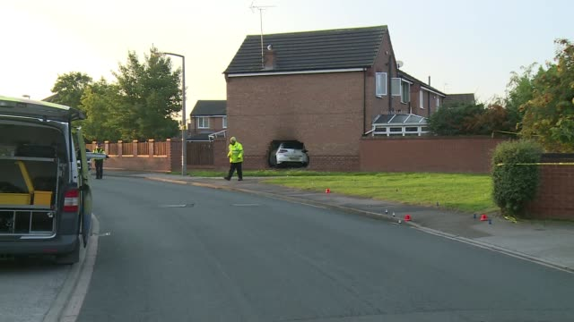 man arrested after crashing car through wall of house in york england north yorkshire york ext various of car crashed through house wall - itv weekend evening news stock-videos und b-roll-filmmaterial
