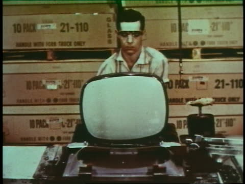 1960 man assembling television in factory - 1960 stock videos & royalty-free footage
