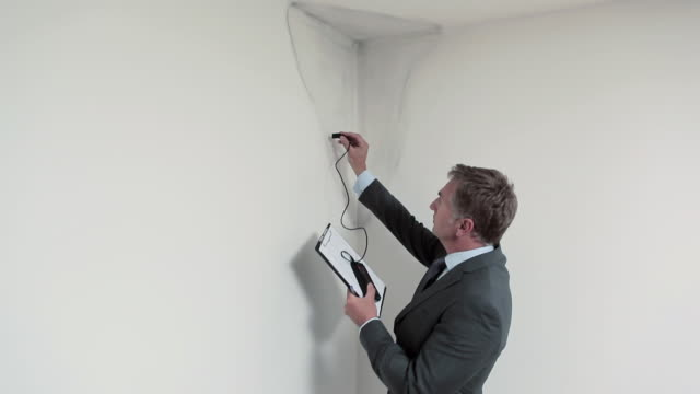 Man assessing water damage on ceiling