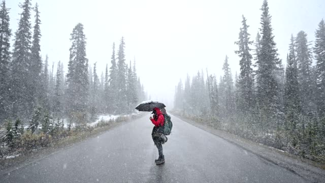 man backpacker holding umbrella in blizzard on the road in the forest - negative emotion stock videos & royalty-free footage