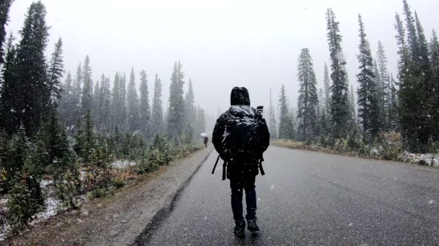 man backpacker walking in blizzard on the road in national park - outdoor pursuit stock videos & royalty-free footage