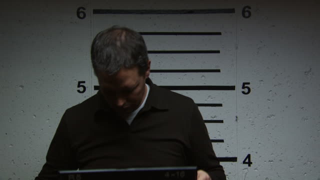 a man being booked for a crime - altri spezzoni di questa ripresa 1146 video stock e b–roll