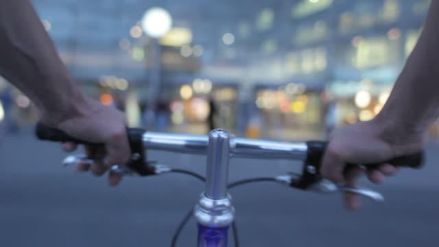 POV MS Man biking through Berlin central station / Berlin, Germany