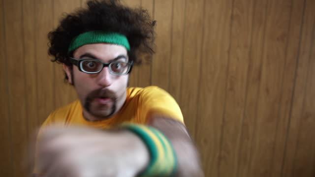 cu shaky man boxing at camera, atlanta, georgia, usa - punching stock videos & royalty-free footage