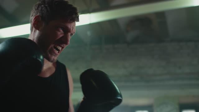 mann punshing boxsack - bodybuilding stock-videos und b-roll-filmmaterial