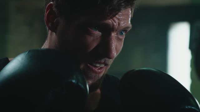 vídeos de stock, filmes e b-roll de saco de punshing homem boxe - sports training