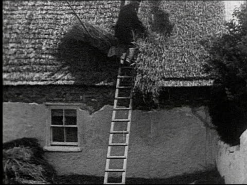man building a thatched roof roofers ladder straw constructions labor worker roof thatcher working on january 01 1920 in ireland - thatched roof stock videos and b-roll footage