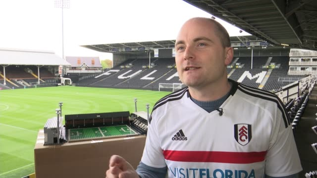man builds football grounds from lego bricks london craven cottage ext smith interview sot lego model of craven cottage with the word fulham picked... - offbeat stock videos and b-roll footage