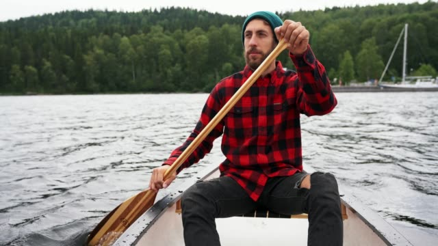 man canoeing on lake in finland - checked pattern stock videos & royalty-free footage