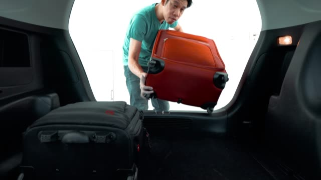 man carry on luggage from the car - bagaglio video stock e b–roll