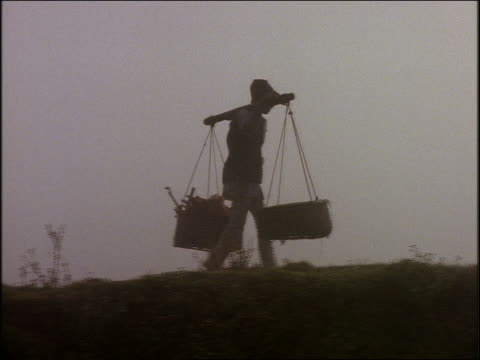 PAN of man carrying baskets in field / Hong Kong