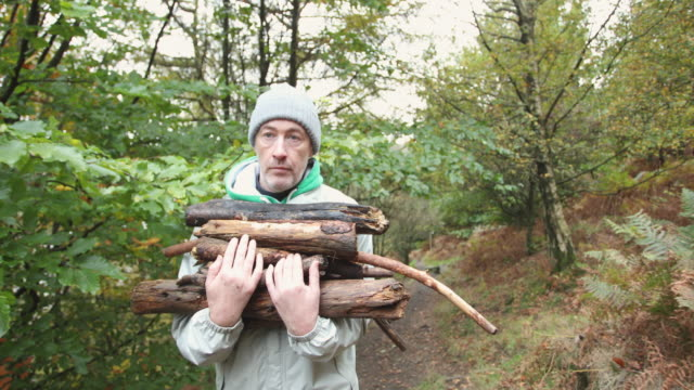man carrying firewood - warm clothing stock videos & royalty-free footage