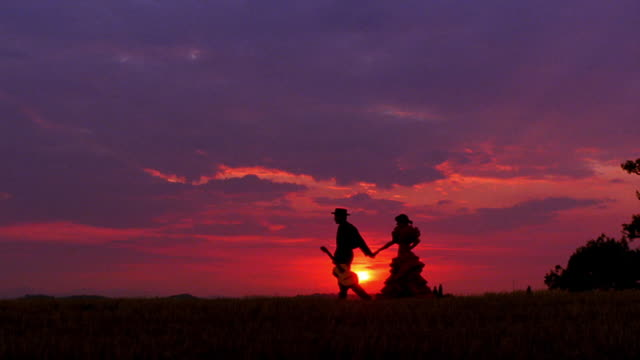 pan man carrying guitar + woman wearing flamenco dress holding hands + walking on grass at sunset - flamenco dancing stock videos and b-roll footage