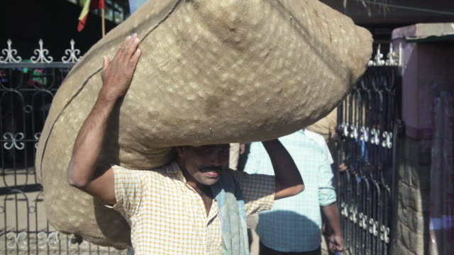 man carrying sack full of silkworm cocoon at market at ramanagara, bangalore, farmers and buyers, south india - indischer subkontinent abstammung stock-videos und b-roll-filmmaterial