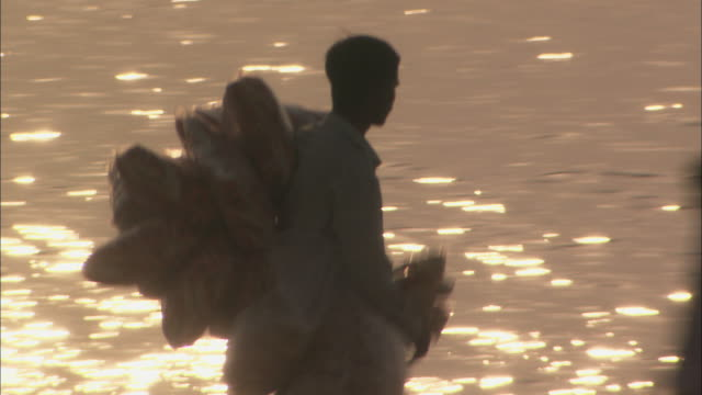 Man carrying sacks wanders across busy beach selling goods Mumbai Available in HD.