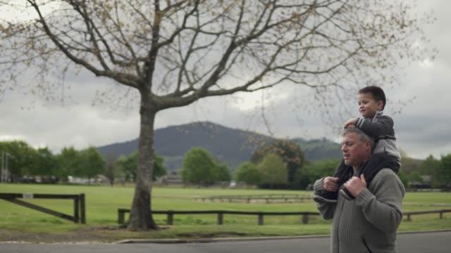 mann, der sohn auf seinen schultern trägt - neuseeland stock-videos und b-roll-filmmaterial