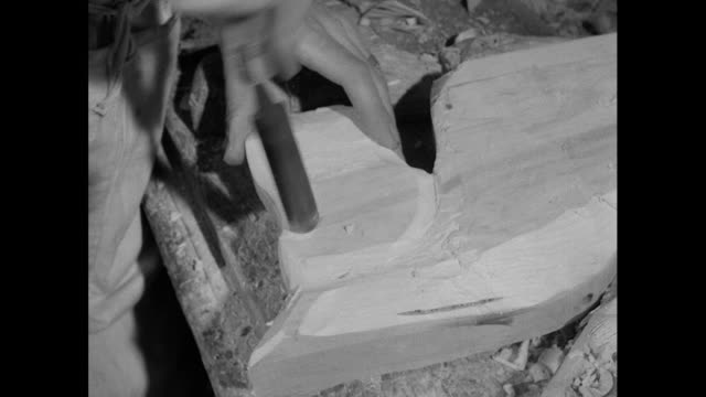 man carves rocking horse head from wood; 1956 - only mid adult men stock videos & royalty-free footage