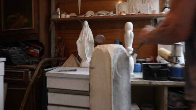 man carving the marble - stone object stock videos & royalty-free footage