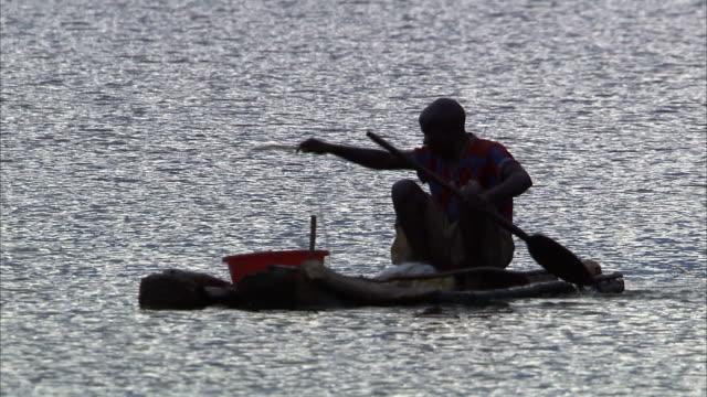man casts fishing net from log raft, lake edward, uganda - cast member stock videos and b-roll footage
