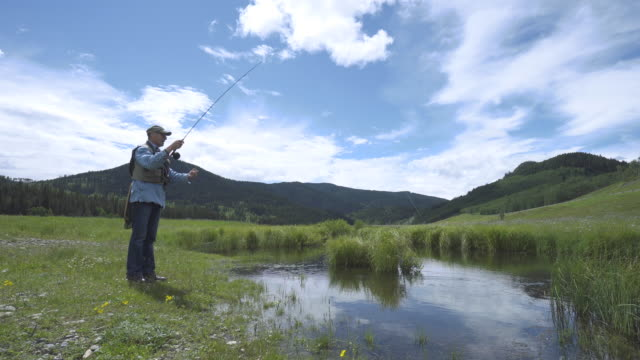 Man casts fly fishing line into rural pond, green meadow