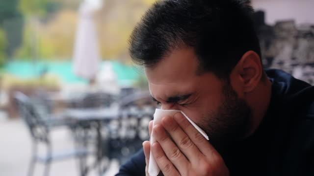 man catch flu, having allergy, sneezing - virus organism stock videos & royalty-free footage