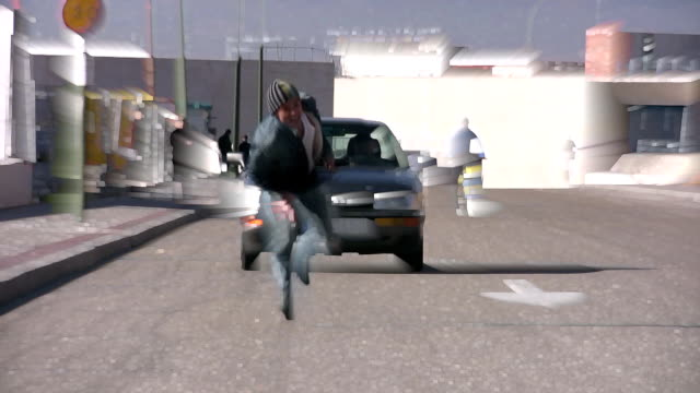 Man chased by car