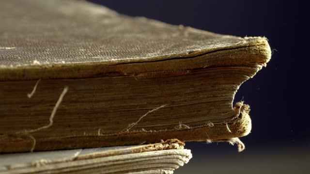vídeos de stock e filmes b-roll de man checking an old book's pages with hand - capa de livro