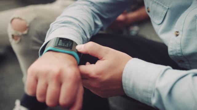 Man checking his smartwatch