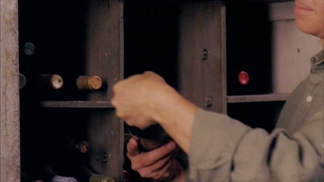 cu, man checking wine bottles in cellar, close-up of hands, marlboro, new york state, usa - wine cellar stock videos and b-roll footage