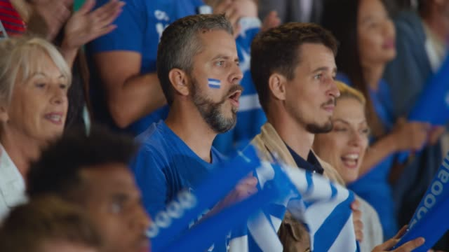 man cheering for his team while nervously watching the game from the tribune at the stadium - face paint stock videos & royalty-free footage