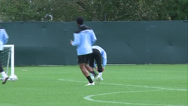 Man City training shots including David Silva Sergio Aguero Owen Hargreaves general team training one touch passing other players featured include...
