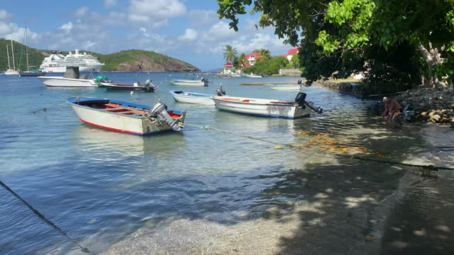 vidéos et rushes de man cleans fish in tropical les saintes bay, boats, cruise ship, terre de haut island, iles des saintes, guadeloupe, west indies, caribbean, central america - guadeloupe