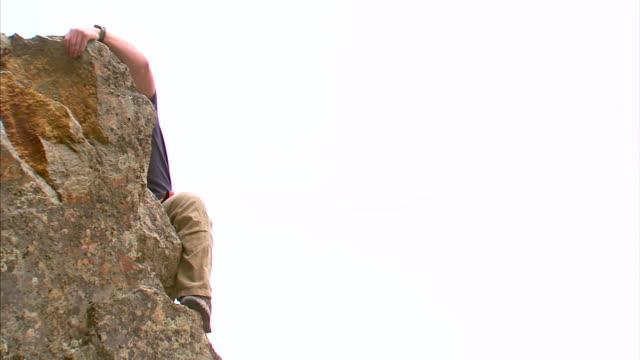 ms man climbing rock / provo, utah, usa - provo stock videos & royalty-free footage
