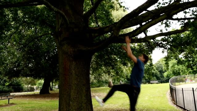 Man climbing up tree