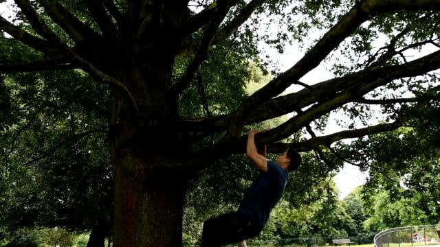 man climbing up tree - climbing stock videos & royalty-free footage