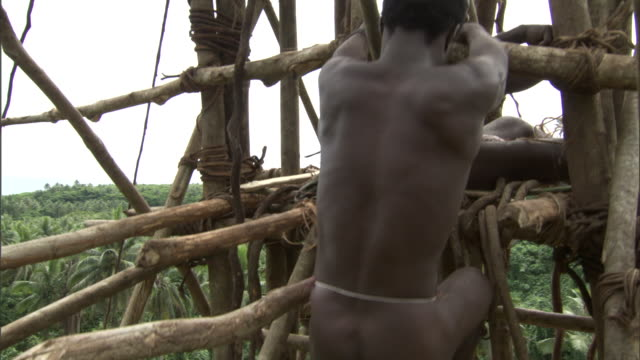 Man climbs wooden tower during land diving ritual, Pentecost, Vanuatu
